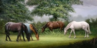horses grazing oil on canvas